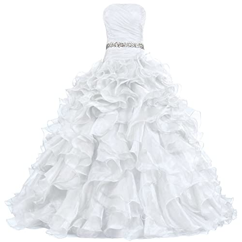 ANTS Women s Pretty Ball Gown Quinceanera Dress Ruffle Prom Dresses Fire  Brick cb4fed20c