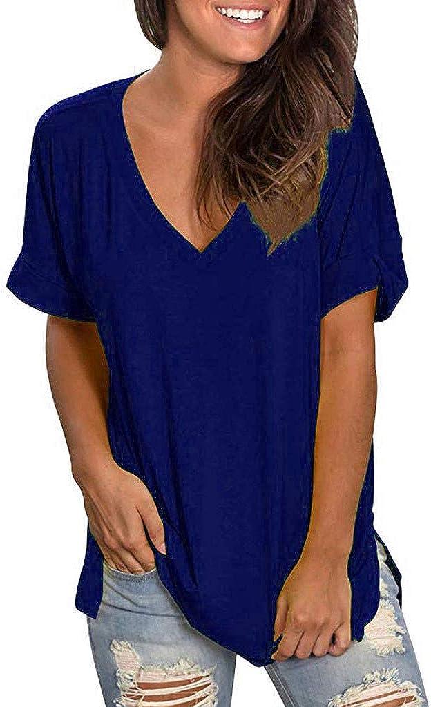 NREALY Blusa Womens Summer V Neck Short Sleeve Shirt Casual Tunic Tops Blouse