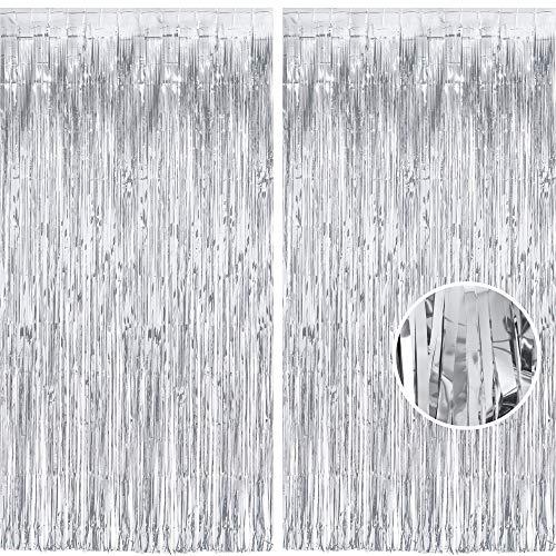 Glitzer Silber Metallic Lametta Folie Fransen Vorhänge, Sparkle Metallic Photo Booth Hintergrund Lametta Tür Vorhänge Für Weihnachten Geburtstagsfeier Hochzeit Disco Deco (2 Stück, 1 x 2,5 m)