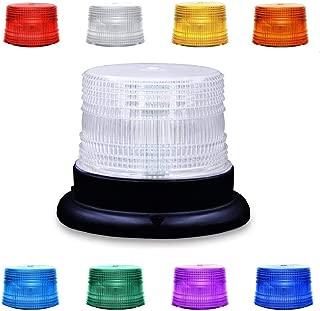 LED Beacon Strobe Light, Dinfu 8 Colors Adjustable Emergency Rotating Strobe Light with Magnetic Base for DC 12-80 V Cigarette Lighter Plug Vehicles (Clear) (LED Strobe Light)