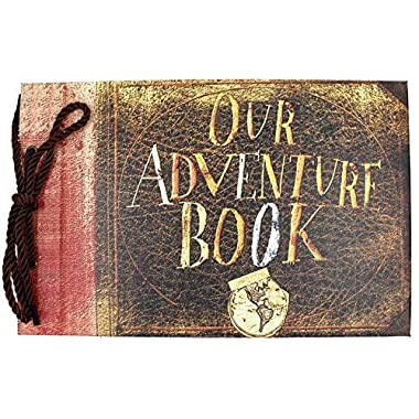 "T-HAOHUA Anniversary Photo Album Scrapbook - Our Adventure Book Wedding Photo Album Scrapping 11.6""x7.5"" inches, 80 Pages - Includes Bonus 5 Postcards and 5 Self-Adhesive Photo Corners"