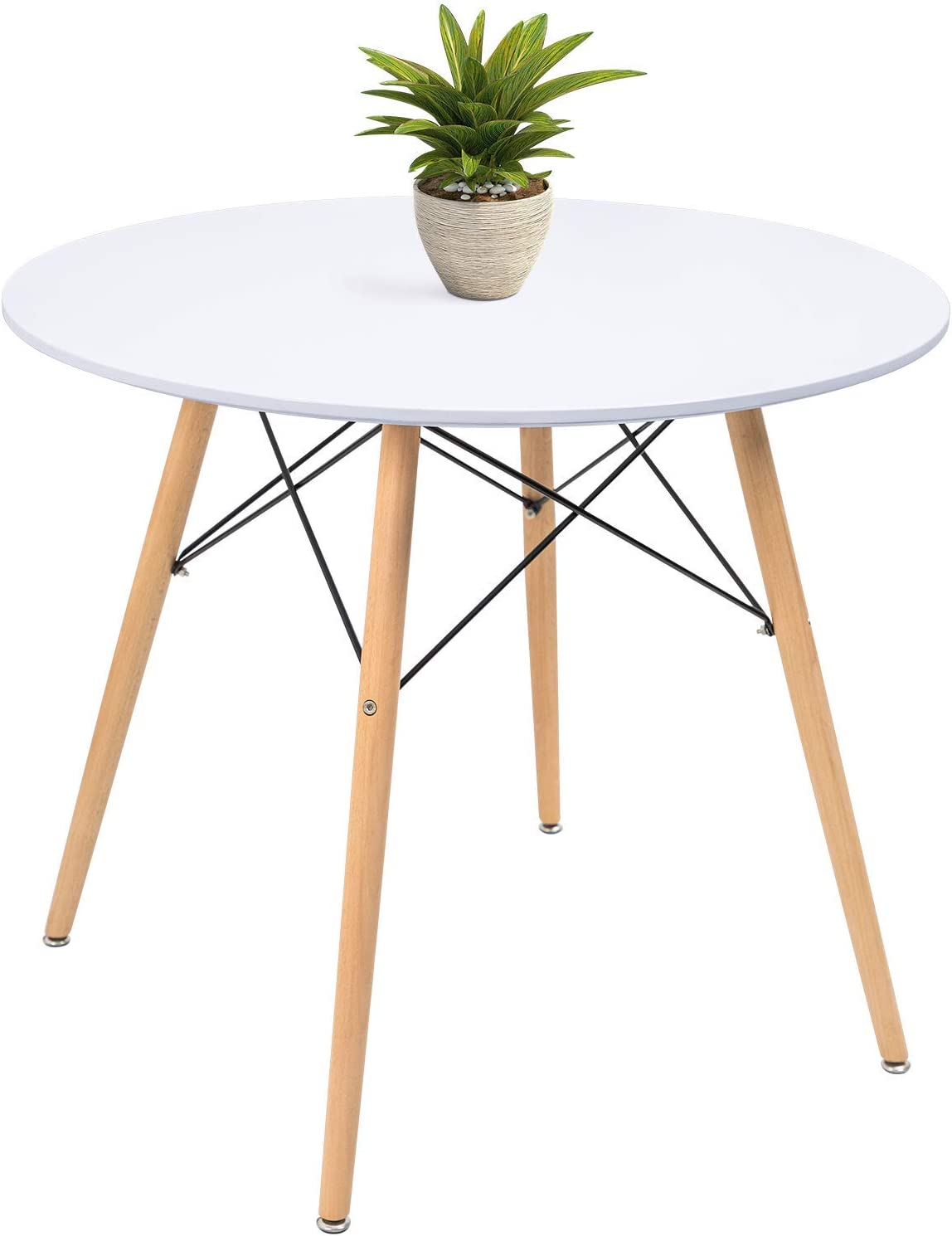 KaiMeng White Round Dining Table 9