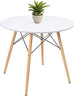 KaiMeng White Kitchen Dining Table Round Modern Coffee...