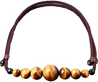 Jewever Natural Tiger Eye Gemstone Choker Healing Crystal Smiling Necklaces for Women Men Bring Good Luck Wealth Jewelry G...