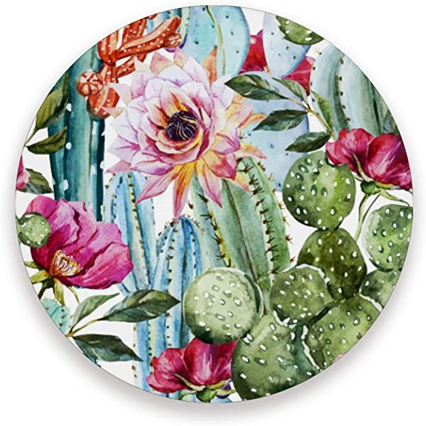 YYZZH Watercolor Tropical Cactus Succulent Bright Colorful Floral Rose Flower Coasters For Drinks Set Of 1 2 4 Round Cup Mat Pad Present Housewarming Birthday Or Holiday Party