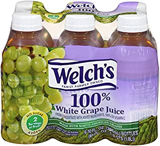 Welch's 100% Juice, White Grape, No Sugar Added, 10 Ounce On the Go Bottles (Pack of 24)