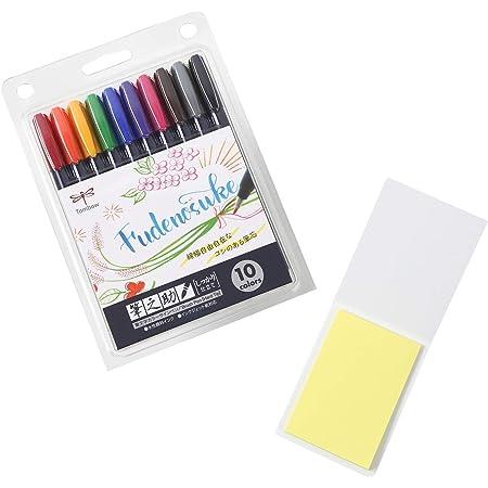 Tombow Fudenosuke Colors Hard Tip Brush Pen 10-Pack