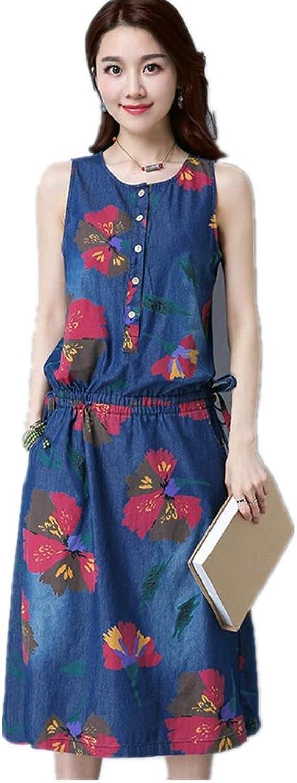 AMYMGLL damen s Cowboy Kleid European Style One - Piece Größen-runde Kragen-Farben-Kleid Baumwolle Sommer Safran Blaume