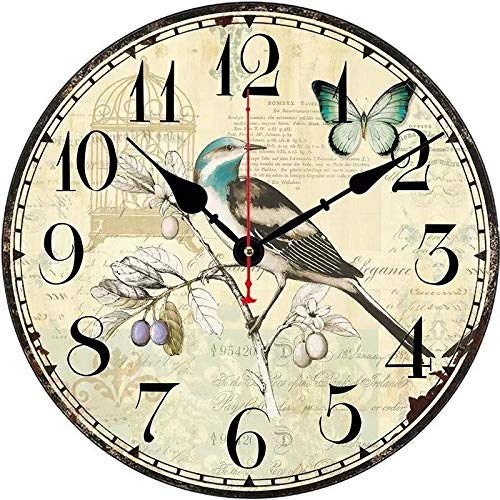 DFGSAA Reloj de Pared Creativo Reloj de Cuarzo de 12 Pulgadas Sala de Estar Minimalista Moderna Reloj Redondo Digital Pared nostálgica Dormitorio en casa Reloj Simple-UN