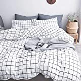 Queen Duvet Cover Set Grid, 90x90 Soft Bedding Cover, Luxury Cool Lightweight Microfiber 3pc Set ( 1 Cover 2 Pillowcase ) with Zip, Tie - Best Modern Style Bed Quilt Cover for Decor, Plaid White