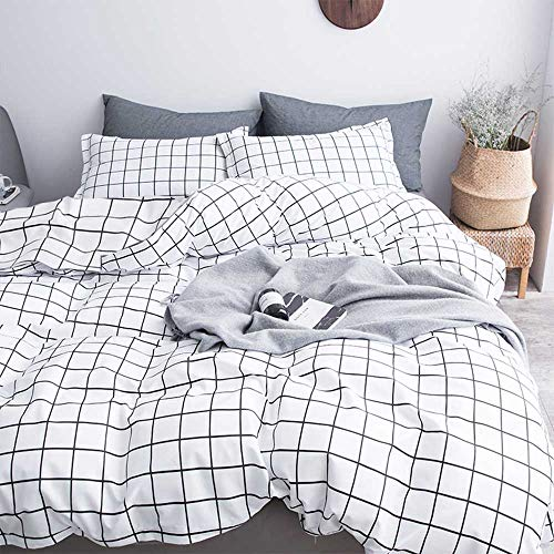 Nanko Queen Duvet Cover Set Grid, 90x90 Soft Bedding Cover, Luxury Cool Lightweight Microfiber 3pc Set (1 Cover 2 Pillowcase) with Zip, Tie - Modern Style Bed Quilt Cover for Decor, Plaid White