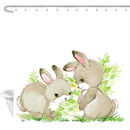 Amazon Com Nymb Spring Cute Bunny Rabbit Festival Shower Curtains Watercolor Animal Easter Bunny With Easter Eggs In Green Fresh Grass Polyester Fabric Easter Shower Curtain Bathroom Accessory Sets 69x70in Home Kitchen