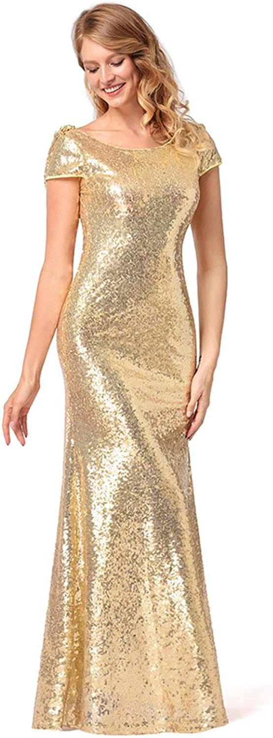 Lady's Dress Women's Dresses Sequin Fabric Solid Round Neck Short Sleeves Winter Fall Holiday Vintage Sheath Maxi Dress Temperament ( Size   S )