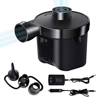 KXT Electric Air Pump, Portable Quick-Fill Pump for Air Bed, 110V AC / 12V DC, Inflator Deflator Pump, Perfect for Outdoor Camping, 3 Nozzles, Air Mattress, Pool Float, SUP
