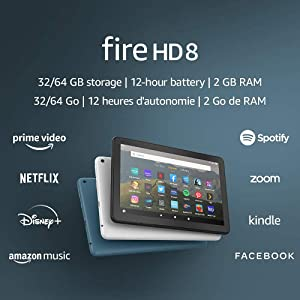 """Fire HD 8 tablet, 8"""" HD display, 32 GB, latest model (2020 release), designed for portable entertainment, Black"""
