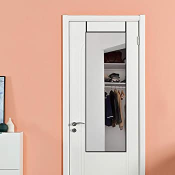 Amazon Com Shigaken Full Length Mirror Over The Door Door Mirror Thin Frame Hanging The Door Or Wall Adjustable Height Hooks On The Door 14 X 48 Black Furniture Decor