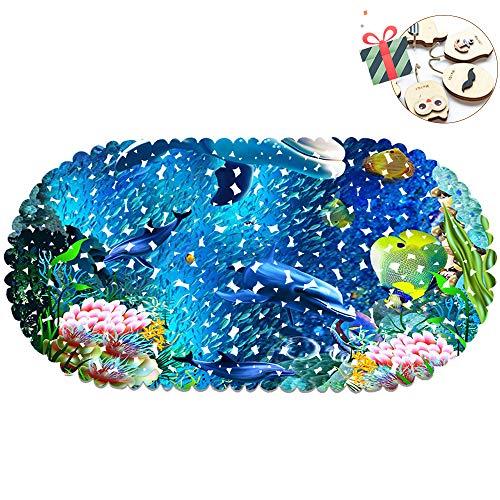 Chickwin Delphin Badezimmer Duschmatten Dusche rutschfest, Ozean Badematte Rutschmatte Duscheinlage für vAntibakteriell mit Saugnäpfe Anti-Rutsch-Badewanneneinlage (70 x 35 cm,Fisch)