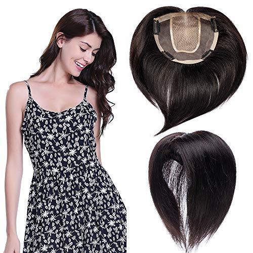 TESS Echthaar Toupet Clip in Extensions Frauen Silk Base Toupee Damen Pony Haarteil Topper Haarverlängerung Lace Front 6