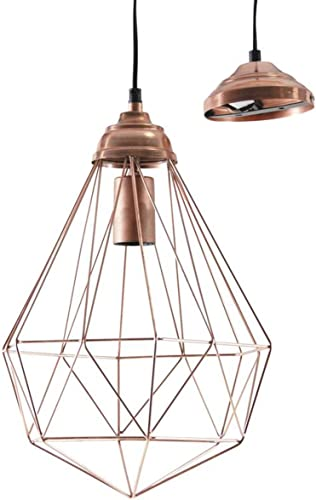 PEGANE Lampe Suspension en métal cuivré Antique - D 30 h 42-126 cm