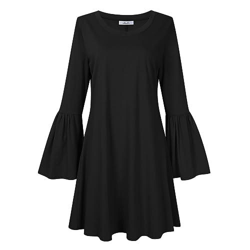 92091df37ebdc2 MissQee Women Plus Size Flare Casual Loose Bell Sleeve Shirt Dress