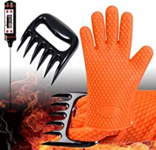 GlovesApparel BBQ-Grill-Gloves Cooking Heat Resistant Silicone Gloves with Meat Claws and Instant Read Digital Thermometer Smoker Accesories (3pcs Set)