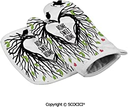 SCOCICI Durable Oven Gloves Heart Shaped Bird Nest Sweet Home Quote Hope Family Partners in Heat Resistant Kitchen Insulated Gloves + Insulated Square Mat Insulated Gloves Combination