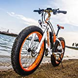 RICH BIT®RT-012 1000W Electric Bike for adult,48V*17Ah High Capacity Battery, Mountain Bicycle, 7 Gears Suspension Fork, 4.0 Fat Tire Snow EBike ,Orange