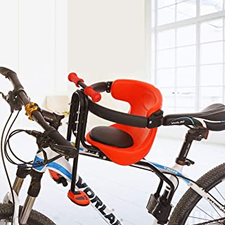 Fcoson Baby Bike Seat, Child Safety Carrier Front Seat with Armrest, Foot Pedals, Saddle Cushion and Back Rest