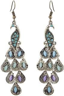Clearance Sale!UMFun💗💗Vintage Boho Style Peacock Geometric Pendant Female Earrings Jewelry