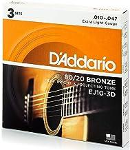 D'Addario EJ10 Bronze Acoustic Guitar Strings, Extra Light, 10-47, 3 Sets (EJ10-3D)