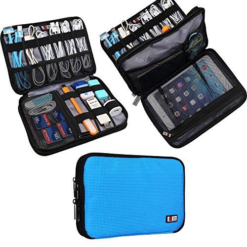 Universal Double Layer Travel Gear Organiser/Custodia da Viaggio Universale per dispositivi elettronici e Accessori (M, Blue)
