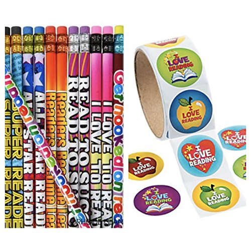 JUST 4 FUN 144 Reading Pencils & 400 Colorful I Love to Read - Stickers Motivational - Great Reader Student #2 Lead - I Love to Read - Party Favors - Classroom Rewards Teacher Motivation