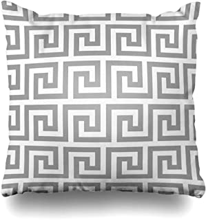Ahawoso Decorative Throw Pillow Cover Graphical Pattern Geometric Line Abstract Greek Antique for Vintage Ceramic Floor Grey Color Chain Home Decor Zippered Square Size 18