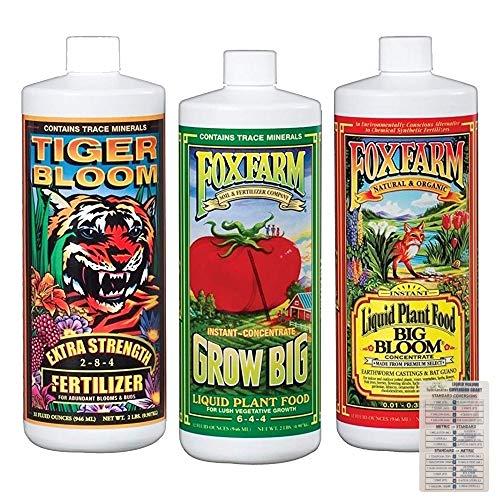 Fox Farm Liquid Nutrient Trio Soil Formula: Big Bloom, Grow Big, Tiger Bloom (Pack of 3-32 oz. Bottles) 1 Quart Each + Twin Canaries Chart