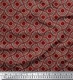 Soimoi Rot japanischer Kreppsatin Stoff geometrisch Mandala