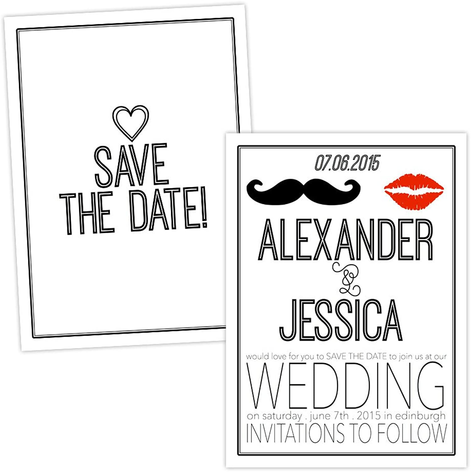 Made by Mika Personalised Save the Date cards RETRO LIPS MOUSTACHE FREE DRAFT & FREE ENVELOPES (50, A5 singlesided Silk card)