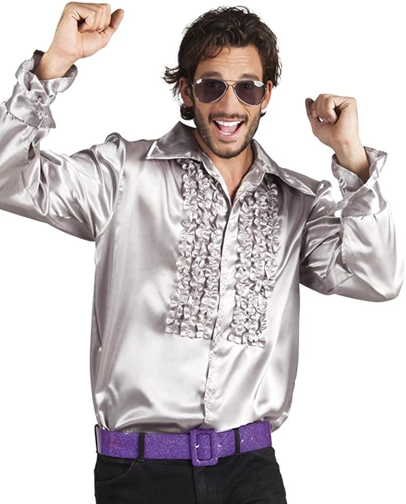 shoperama Camisa de los años 70 con volantes para hombre