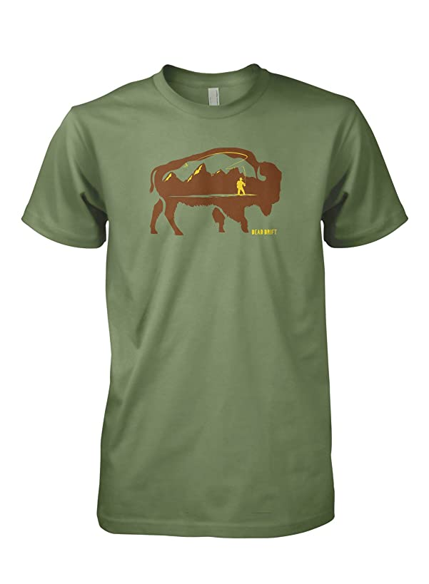 Dead Drift Fly Grand Buffalo Fly Fishing T-Shirt (Large, Olive)