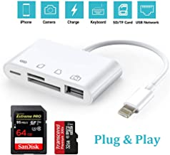 SD Card Reader, 4 in 1 SD Card Reader Adapter with 1USB 2.0 Female OTG Digital Camera Reader Adapter Trail Game Camera Viewer Compatible with iPhone/iPad No App Required