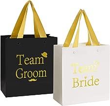 Crisky Team Bride Team Groom Gift Bags Birdesmaid Groomsman Bags Hangover Kit Photo Booth Props Kit Bag for Bachelorotte Bachelor Engagement Wedding Party Favors Gold Foiled Color, 6 Black & 6 White