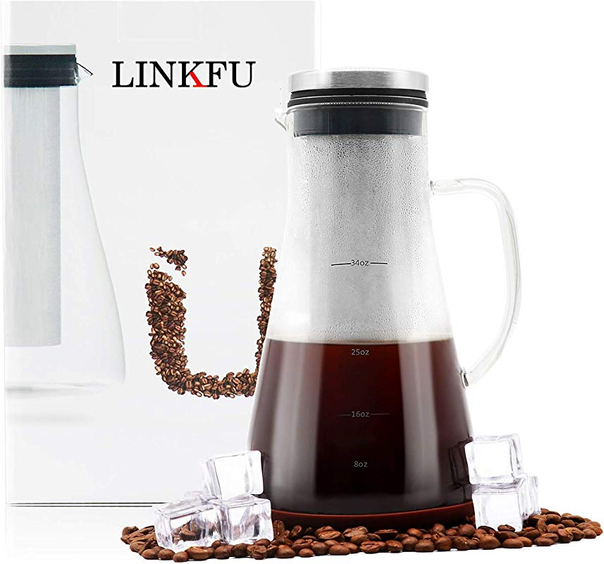 LINKFU Brew Iced Coffee Maker Airtight Cold Water Infuser With Spout Large Capacity 1 0L 34oz Carafe With 100 BPA Free Glass Pitcher Removable Stainless Steel Filter Spoon For Tea Juice Wine Milk