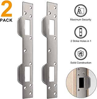 Door Security Plate, 2 Pack Steel Strike Plate with 5-1/2 inch to 6 inch Hole Spacing's On Latch and Deadbolt, Dual Security Strike Plate Between Door jamb and The Door.