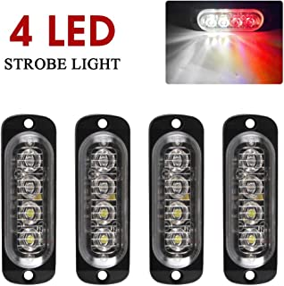 Yifengshun Red&White Strobe Lights for Trucks 4 LEDS Flash Emergency Warning Caution Light Bar Surface Mount for Car Motorcycle Truck(4pcs)