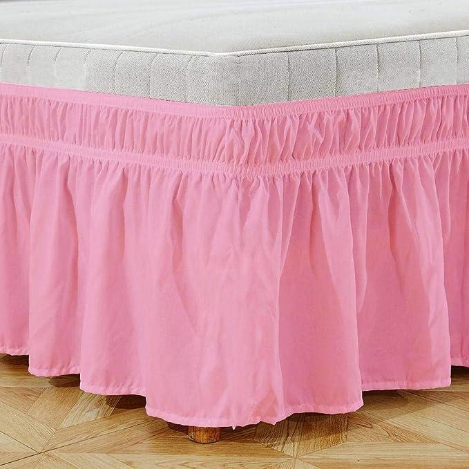 QUNCUNG Falda de la Cama. Falda Cama elástica Plisada Bedding Ruffled Bedskirt Tres Lados de Tela envuelven elástico Cubre unda de somier-Azul ...