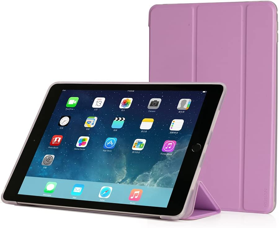 RUBAN Case Compatible with iPad Pro 9.7 Inch 2016 - Slim Lightweight Protective Smart Shell Anti-Scratch Non-Slip Flexible Soft TPU Back Cover Stand [Auto Sleep/Wake], Purple