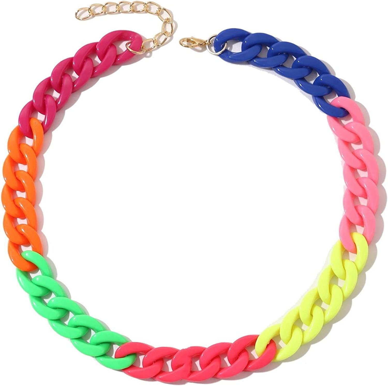 Colorful Acrylic Paperclip Chain Choker Necklace Rainbow Resin Chunky Link Chain Hip Hop Punk Acrylic Cuban Collar Necklace Jewelry for Women Girl