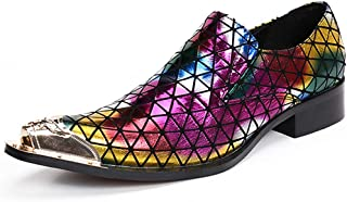 S.Y.M Men Shoes Men's Novelty Shoes Nappa Leather Spring Fall Casual British Loafers & Slip-Ons Non-slipping Rainbow