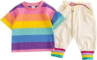 Jugendhj Babysuit 🇨🇦🇨🇦Toddler Baby Boy Kids Rainbow Stripe Tops T-Shirt +Pants Outfits Set