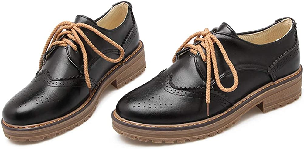 Women's Leather Oxfords Cuban Brogue Shoes W Perforated Vintage Boston Quantity limited Mall