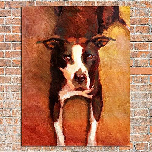 wZUN Obra de Arte Profesional Abstracto Lindo Lobo Perro Pintura al óleo sobre Lienzo decoración de Paredes imágenes de la habitación 40x60 Sin Marco